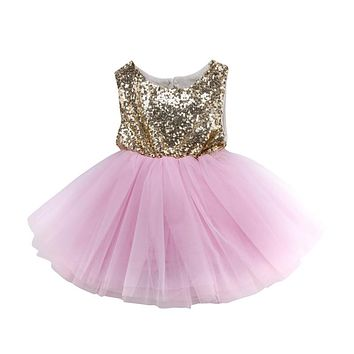 Baby Girls Formal Dresses  Sequins Dress For Girls Kids Baby Girl Pageant Party Dress Girl Gown Bridesmaid