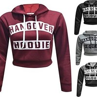 Womens Ladies Hangover Hoodie Print Pull Over Hoody Sweatshirt Crop Top (M/L(12-14), Wine)