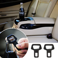 Safety Car Seat Belt Buckles Clip Bottle Opener Metal Vehicle-mounted Beverage Beer Opener Dual-use Car Styling Auto Accessories