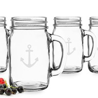 Cathy's Concepts 'Anchor' Glass Drinking Jars (Set of 4)