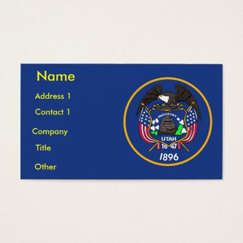 Business Card with Flag of Utah U.S.A.