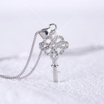 Stylish New Arrival Jewelry Shiny Gift 925 Silver Diamonds Crown Pendant Sweater Chain Accessory Birthday Gifts Necklace [8026161671]