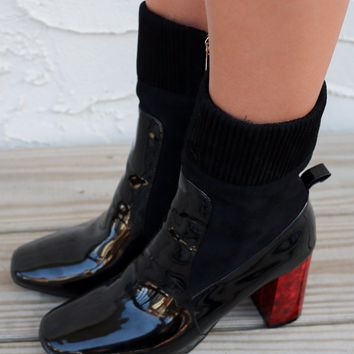 Times Square Patent Leather Chunky Heel