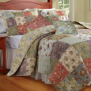 Cotton Wildflower Patchwork Block Quilt Bonus Set - Plow & Hearth