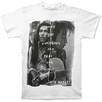 Bob Marley Men's  Free Our Minds T-shirt White Rockabilia