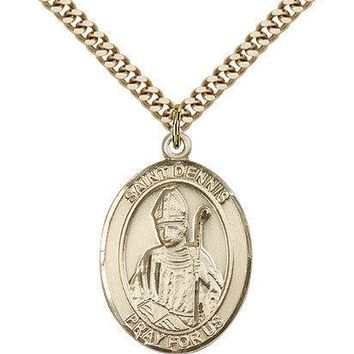"Saint Dennis Medal For Men - Gold Filled Necklace On 24"" Chain - 30 Day Money... 617759400069"