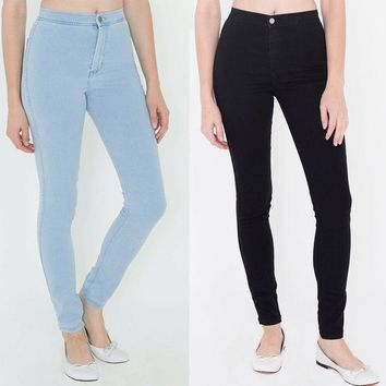 American apparel AA Classic hip slim high waist jeans trousers pencil pants women's jeans female Elastic black blue