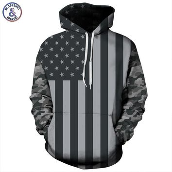 Sweatshirt Striped Stars America Flag Hooded