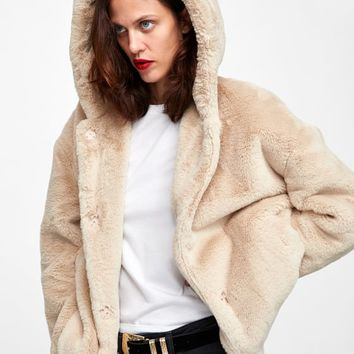 HOODED FAUX FUR JACKET