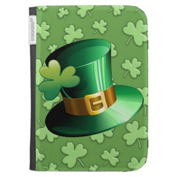 St Patrick Paddy Hat and Shamrock Kindle Case