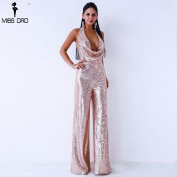 Missord 2018 Sexy   deep v  off shoulder sleeveless backless sequin  jumpsuit FT9394