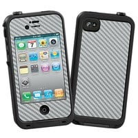 Textured Carbon Fiber Silver Grey Skin  for the iPhone 4/4S Lifeproof Case by skinzy.com