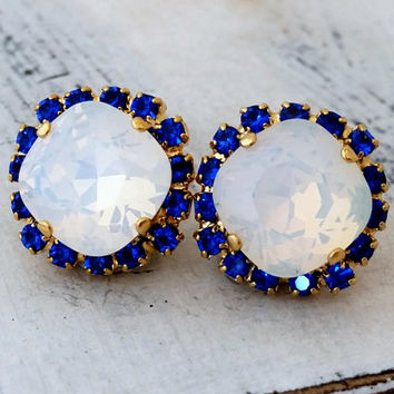 White opal and blue sapphire crystal stud earrings, Bridal earrings, Bridesmaids jewelry, Swarovski White opal stud earrings, Gold earrings