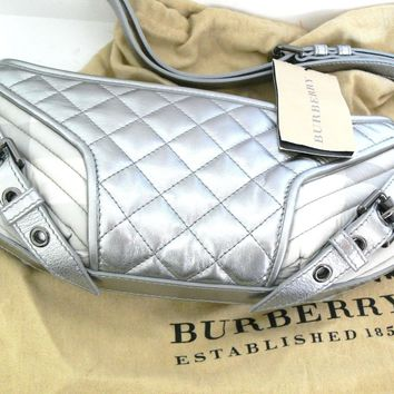 Womens Burberry Quilted Edie Nova Check Shoulder Bag Metallic Silver Italy