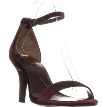 Bandolino Madia Ankle Strap Peep Toe Sandals, Wine, 6 US