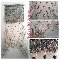 Hand Knitted with Macrame Sisal Black Natural Wall Hanging on Driftwood READY TO SHIP