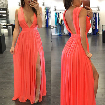 Red Orange Deep Plunge Backless Split Pleated Maxi Dress