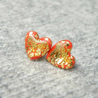 SALE FREE SHIPPING Red Gold heart stud earrings. Valentine Day Jewelry. Polymer clay stud earrings with real gold leaf. Cute post earrings