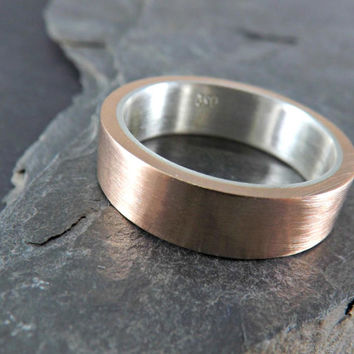 elegant bronze silver ring - bronze ring with inner silver band - rustic wedding ring - silver bronze ring - rustic mens ring
