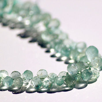 "Natural Sky Blue Aquamarine 4-6mm Micro Faceted Briolettes 8"" Strand"