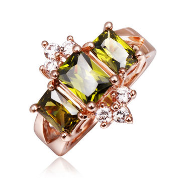 Olive Zirconia Rose Gold Plated Ring