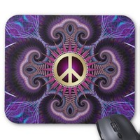 Peace Sign Groovy Fractals Purple Mousepad
