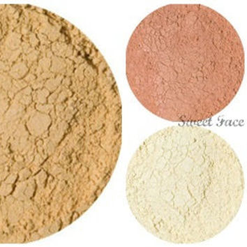 Free Shipping! BISQUE STARTER SET Mineral Makeup Sample Size Kit Mineral Foundation Bronzer Blush Finishing Powder Veil
