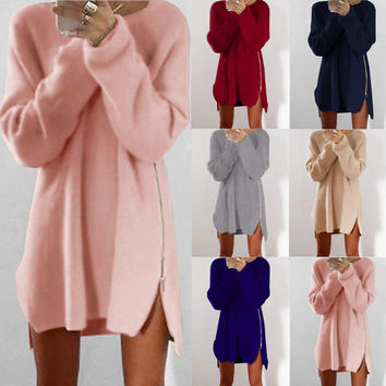 Leisure Loose Side Zipper Long Sweater Dress