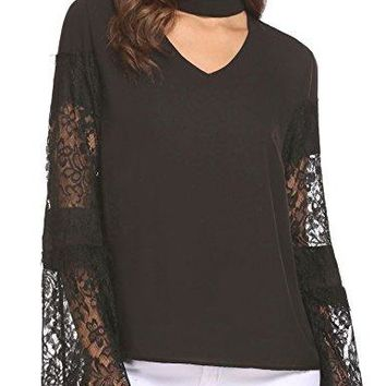Unibelle Women Sexy Choker V Neck Chiffon Lace Patchwork Bell Sleeve Blouse Top Shirts