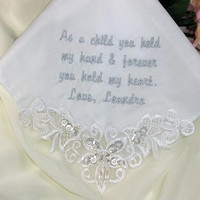 Mother of the Groom Wedding Handkerchief Embroidered Personalized Cotton 9201