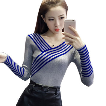 Autumn Winter Fashion women sweater V neck long sleeve Pullover Knitted Sweater Elegant Sexy women sweaters Tops pull femme