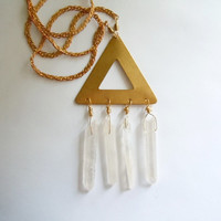 Raw Crystal Necklace - Brass Pyramid With Mystic Crystal Quartz Points