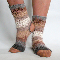 Yoga Socks Dance Pilates Ballet Brown Beige Gray Leg Warmers ankle warmers dancer