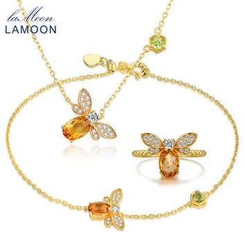 LAMOON Bee 5x7mm 1ct 100% Natural Citrine 925 Sterling Silver Jewelry S925 Jewelry Set V027-1