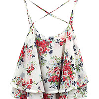 White Layer Floral Print Cross Back Cami Top - Choies.com