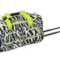 "PRD322-LIMEZEBR 22"" Rolling Duffle Luggage Bag"