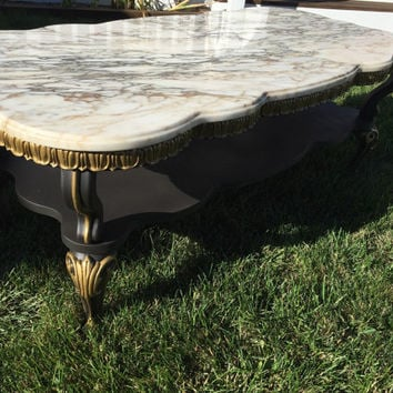 Vintage.Neoclassical.Marble.Top.Coffee.Table.with.Gold.Accents.and.Black.Matte.Finish