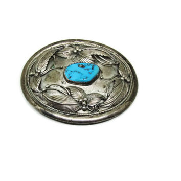 Bold Vintage Navajo Indian Sterling Turquoise Belt Buckle |  Signed / Vintage Sterling and Turquoise Buckle |  Native American Belt Buckle