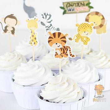 24pcs Jungle Safari NOAH'S Cupcake Picks Animal Cake Topper Cartoon Cupcake Inserts Card Birthday Baby Shower favor kids