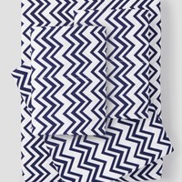 Hotel Collection Easy Care Microfiber Sheet Set Navy Chevron - Bed & Bath | Stein Mart