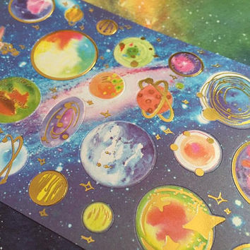 outer space planets sticker solar system moon earth jupiter mars saturn uranus venus mercury Galaxy mystery sky 9 planet gold foil sticker