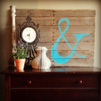 Ampersand Sign, Recycled Pallet Art, & Sign, Teal Ampersand Sign, Teal Ampersand Wooden Sign