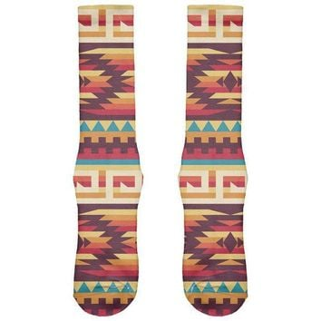CREYON Native American Pattern Red All Over Crew Socks