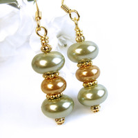 Green and Gold Pearl Earrings Handmade Elegant Dangles Beaded Jewelry