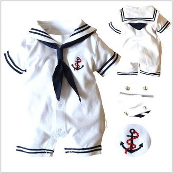 100% cotton High qu  new autumn -summer baby boy girl clothing newborn romper sport suit ,navy style gentleman baby clothes