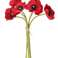 """Real Touch Poppy Bundle in Red - 12"""" Tall x 3"""" Blooms"""