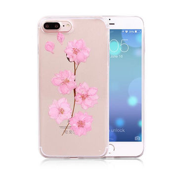Pink Pressed Flower Case Real Dried Flowers Phone Case LIMITED Handmade Cover for iPhone 7 7Plus & iPhone se 5s 6 6 Plus +Gift Box 263