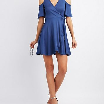 Ribbed Cold Shoulder Wrap Dress