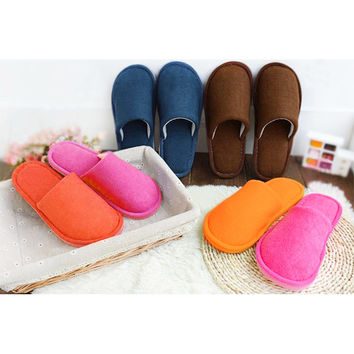 2017 Autumn Winter Men Solid Color Indoor House Slippers Home Shoes Anti-slip Plus Size Mens Home Slippers Pantoufle Femme O123