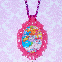Hot Pink Ornate Popples Cameo Necklace